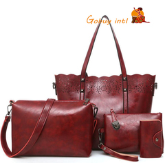 【Gobuy】women bag 4pcs set bags Hollow Out Pu Leather fashion handbag shoulderbag Crossbody Bag red as picture