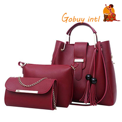 【Gobuy】Hot sales! Buy one get two free! Women 3pcs Composite bags, Lady shoulderbag & handbag set red as picture