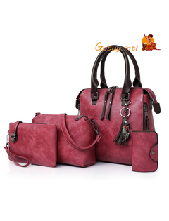 【Gobuy】Women Composite Bag Luxury Leather Purse and Handbags Shoulder Bag 4pcs Ladies Set red as picture