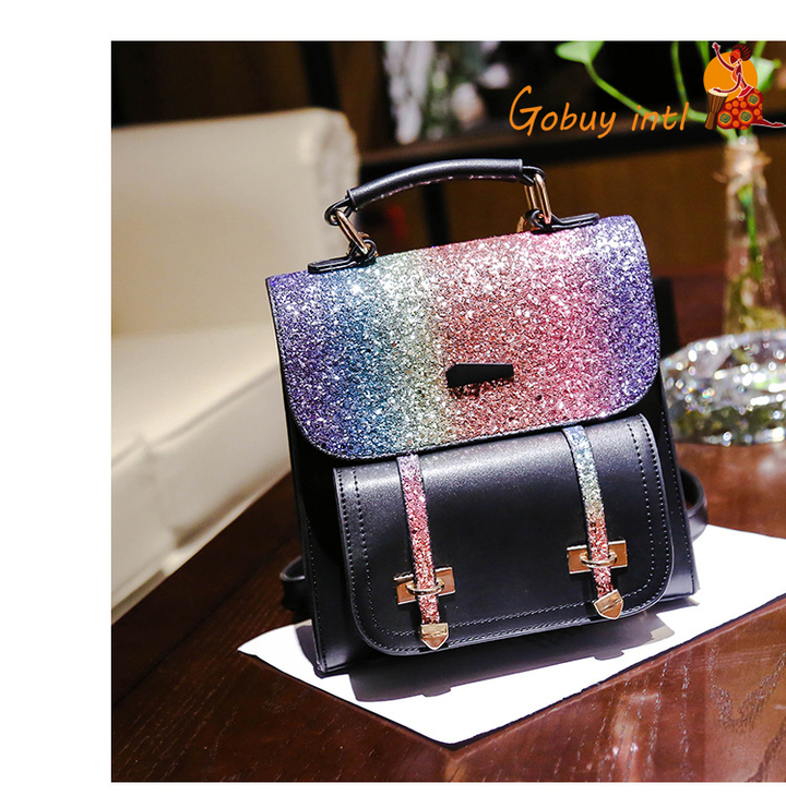 【Gobuy】New arrival! Rainbow girls ladies backpace, shoulerbag and handbag black 20*21*8cm