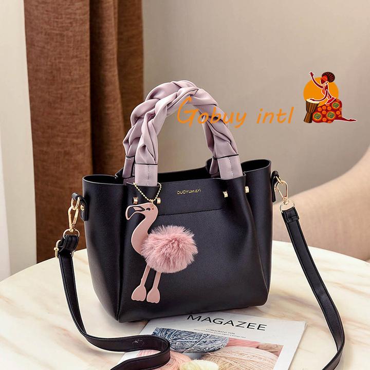 【Gobuy】2019 Fashion Flamingo Tote Bag Women Handbags Casual Soulder Bag black 23*12*20cm