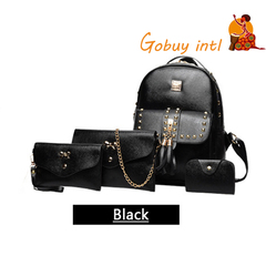 【Gobuy】Buy one get three free 4pcs backpack handbag shoulder bag set black as picture