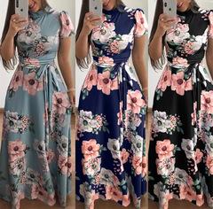 Women's Summer Leisure Short-sleeve Printed Long Skirt, High-collar Elegant Dress, 2019 light blue xl