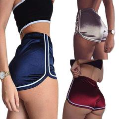 New 2019 Women Shorts Summer Silk Slim Beach Casual White Shorts Hot Claret xl