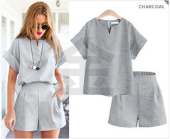 Spring and Summer Women's Wear Two-piece Suit for Women's Office Large Suit and Short Sleeve Suit gray xl