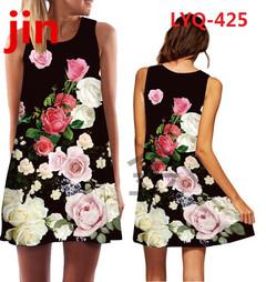 30 New Rose Printed Sleeveless Summer dresses O-collar Loose Mini Chiffon Dresses  Women's Dresses 426 xxl