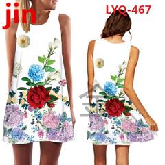 30 New Rose Printed Sleeveless Summer dresses O-collar Loose Mini Chiffon Dresses  Women's Dresses 459 xxl