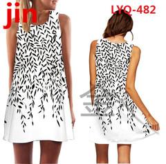 30 New Rose Printed Sleeveless Summer dresses O-collar Loose Mini Chiffon Dresses Women's Dresses 500 xl