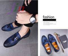 Weave Pattern Tassel Fringe Leather Shoes Slip On Casual Loafers Plus Size Round Toe Men Shoes gules 43