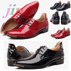 Men's Limit Bright riveted leather shoes Formal business weddings parties, men shoes blue blue 43