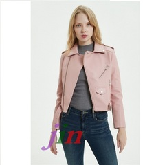 Modern Motorcycle Leather Jacket Motorcycle Coat Short Soft jacket for artificial leather locomotive Pink s
