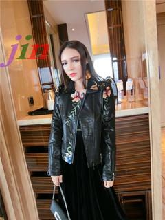 Women's wear embroidered soft leather jacket lapel leisure Pu Motorcycle Black Punk jacket black xxl