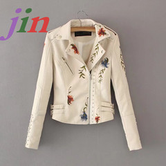 Women's wear embroidered soft leather jacket lapel leisure Pu Motorcycle Black Punk jacket white s