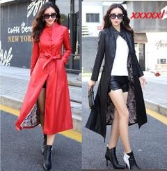 Women long leather jacket PU leather overcoat women coat Wide belt Modern Locomotive popularity gules xxxxxl