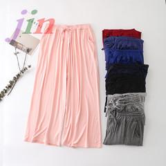 Metropolitan casual women's wear, women's trousers, women's Modal cotton broad-legged pants. Cyan Uniform code