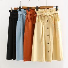 Women Cake Skirt Belt Skirt Butterfly Festival Cotton Skirt SummerSkirt High-waist Half length light blue average size