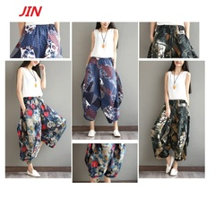 Large size women's cotton flax spring and summer broad legged nine-minute pants flax pants Grey rose uniform code