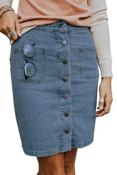 Summer Dress Casual Skirt Chic Button up Denim Skirt for Women