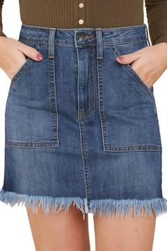 Women Party Skirt Distressed Hem Denim Skirt Summer Dress light Blue S