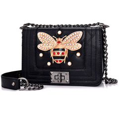 New Women Messenger Bags Small Chain Metal Bee Decoration Crossbody Handbags Elegant Shoulder Bag Black 21*16*8CM