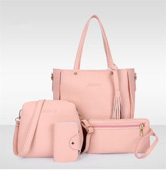 Fashion Red Four-piece Inclined Span Handbag Fringed Crossbody Shoulder Tote Low Price Buy Pink Ordinary