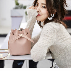 New Women Bucket Bag Women PU Leather Shoulder Bags Crossbody Lovely Messenger Bags Girl Friend Gift Pink 20x16*12CM