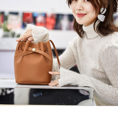 New Women Bucket Bag Women PU Leather Shoulder Bags Crossbody Lovely Messenger Bags Girl Friend Gift Brown 20x16*12CM