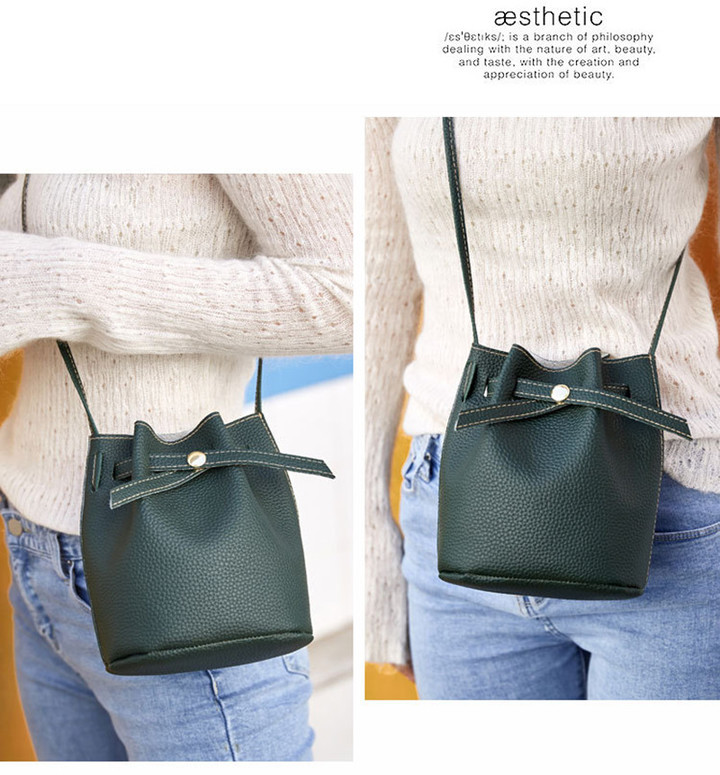 New Women Bucket Bag Women PU Leather Shoulder Bags Crossbody Lovely Messenger Bags Girl Friend Gift Dark gray 20x16*12CM
