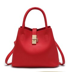 Metal Hook Fashion Solid Soft Face Women Sloping Shoulder Bags PU Leather Bucket Type Handbag Cheap Red 31*18*23cm