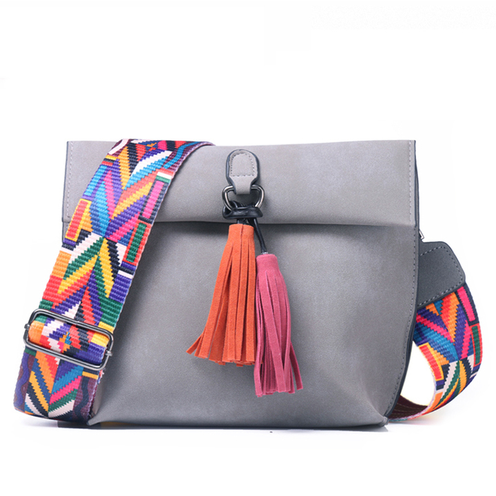 2019 New Women Handbags, Simple Fashion Flap, Trend Tassel Woman Messenger Bag, Shoulder Bag Gray 22*10*17CM 22