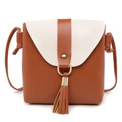 PU Leather Women Bucket Shoulder Bag Fashion Panelled Tassel Crossbody Bag Female Small Handbags Brown 19*17*4CM