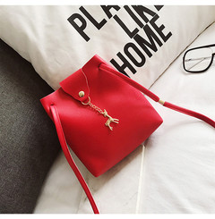 Women Bag Mini Handbag Casual Purse Ladies PU Leather Decorate Deer Slant Bag Crossbody Bag Bolsos Red 17*19*23CM