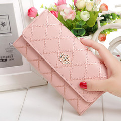 Womens Wallets Purses Plaid PU Leather Long Wallet Hasp Phone Bag Money Coin Pocket Card Holder Pink 19*2.5*10CM