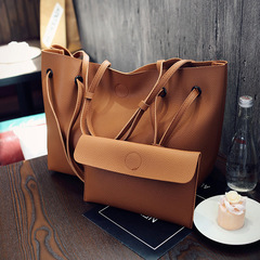 Women 2Pcs/Set Handbags PU Leather Solid Color Shoulder Casual Tote Bag High Quality and Cheap Brown 35*19*30CM