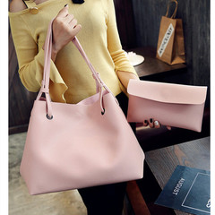 Women 2Pcs/Set Handbags PU Leather Solid Color Shoulder Casual Tote Bag High Quality and Cheap Pink 35*19*30CM