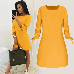 2019 Women's O-neck Solid Color Dress Spring Mini Dresses 3/4 Sleeve Bow Elegant Straigth Vestidos Yellow S