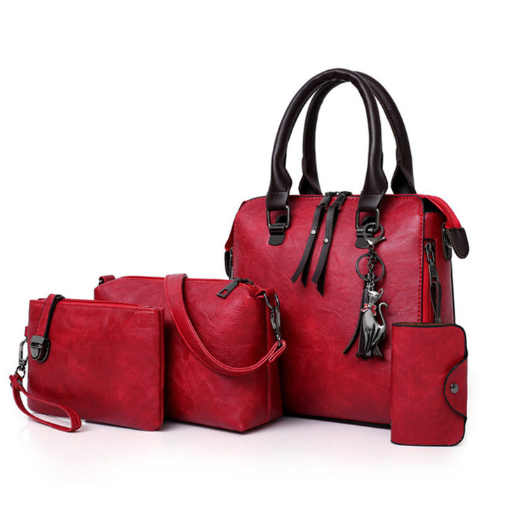 Women Composite Bag Luxury Leather Purse and Handbags Top-Handle Female Shoulder Bag 4pcs Ladies Set Red 25*23*12CM