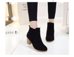 Women Boots Flock Ankle Boots Spring Autumn Women Boots Ladies Party Western Stretch Fabric Boots Black 35