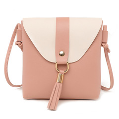 PU Leather Women Bucket Shoulder Bag Fashion Panelled Tassel Crossbody Bag Female Small Handbags Pink 19*17*4CM