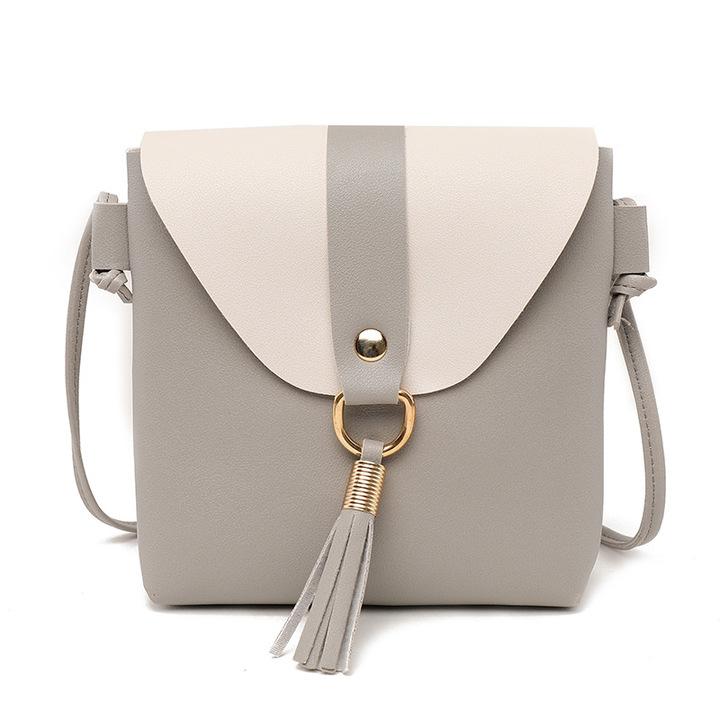 PU Leather Women Bucket Shoulder Bag Fashion Panelled Tassel Crossbody Bag Female Small Handbags Gray 19*17*4CM