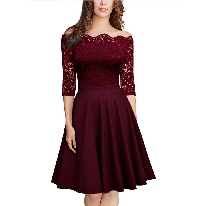 Elegant Lace Dress Women Patchwork Off Shoulder Dress Summer Ladies Sexy Evening Party Dresses Red S