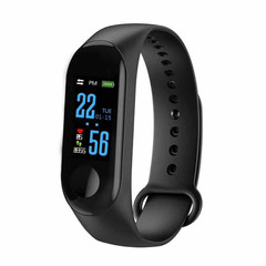 Bluetooth M3S Smart Bracelet Heart Rate Monitor Fitness Pedometer USB Rechargeable Watch Wristband Black