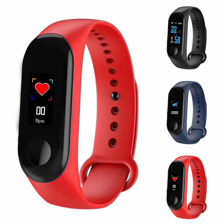 Bluetooth M3S Smart Bracelet Heart Rate Monitor Fitness Pedometer USB Rechargeable Watch Wristband Red