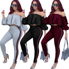 Hot Sale Women Tight Suit Laminated Sleeve Stripe Casual Top Office Party Club Sexy Suit Gray S