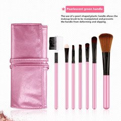 7PCS Pearlescent Handles Makeup Brush Set Kit with Case Foundation Contour Eyebrow Brushes Pink