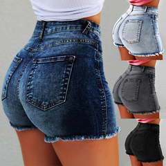Fashion Women Summer High Waisted Denim Shorts Jeans Women Short 2019 Skinny Slim Denim Shorts Black S