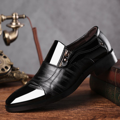 Fashion Business Dress Men Shoes 2019 New Genuine Leather Texture Men'S Shiny Slip On Men Oxfords Black slip-on 37