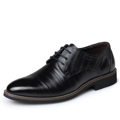 High Quality Leather Men Brogues Shoes Lace-Up Bullock Business Dress Men Oxfords Shoes Male Shoes Black 38
