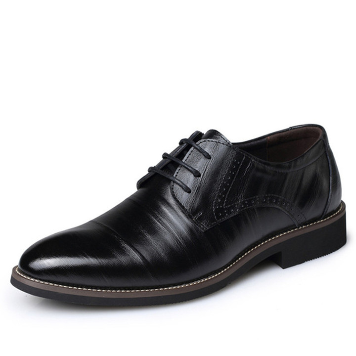 High Quality Leather Men Brogues Shoes Lace-Up Bullock Business Dress Men Oxfords Shoes Male Shoes Black 38