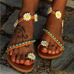 Summer Women Shoes Flat Heels Sandals Fashion Female Comfortable Sweet Flowers Boho Beach Sandals Brown 35